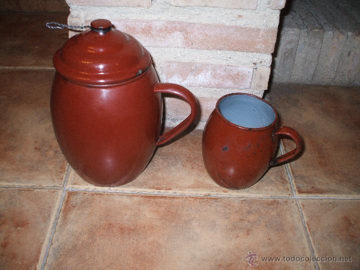 Pareja de cafetera con tapadera y lechera esmal comprar for Cacharros cocina