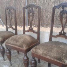 Antigüedades: SILLAS ANTIGUAS CON PATAS REDONDAS ALFONSINAS RESTAURADORES. Lote 47040815