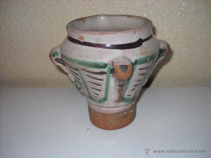 MUY ANTIGUO MORTERO/ALMIREZ DE TERUEL DE TRES ASAS (Antigüedades - Porcelanas y Cerámicas - Teruel)
