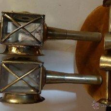 Antigüedades: 2 ANTIGUOS FAROLES INGLESES DE CARROZA , CARRO . Lote 47053612