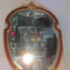 Antigüedades: ESPEJO VISELADO EN MADERA POLICROMADA. Lote 47061626