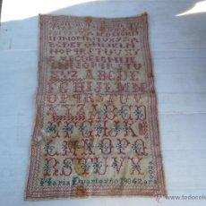 Antigüedades: ANTIGUO ABECEDARIO BORDADO AÑO 1904 ZARAGOZA .. FIRMADO MARIA DUARTE MEDIDA 52X34. Lote 47066820