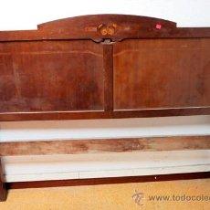 Antigüedades: CABECERO EN CAOBA CON MARQUETERÍA ART DECO PARA CAMA GR.. Lote 47081485