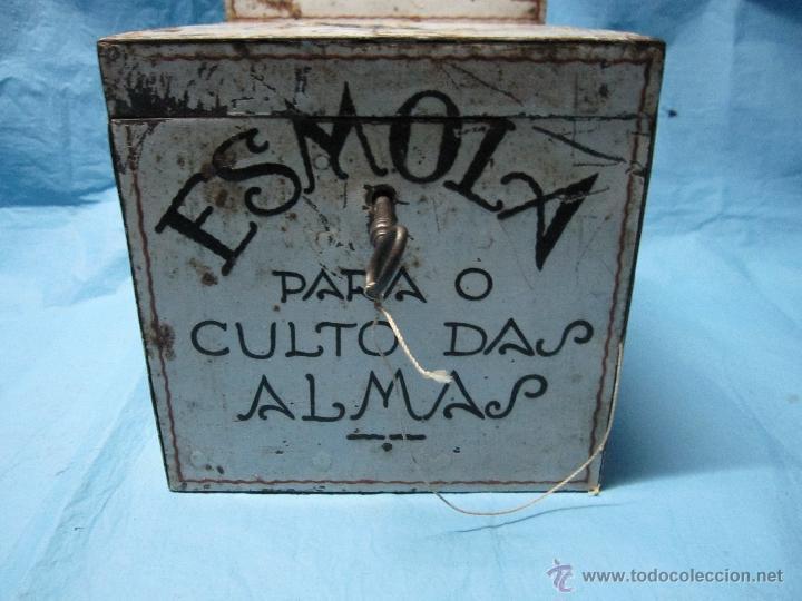 ANTIGUA HUCHA DE IGLESIA PORTUGUESA ESMOLA PARA O CULTO DAS ALMAS LIMOSNERO ANTIGUO ETNOGRAFICA (Antigüedades - Religiosas - Varios)