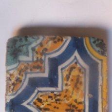 Antigüedades: AZULEJO RACHOLA TALAVERA DECORADO CON JASPEADOS S,M.S. XVI. Lote 47123977