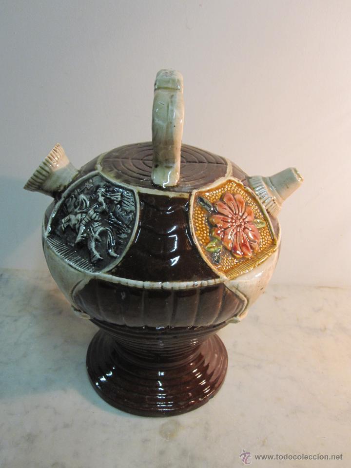 VIEJO BOTIJO DE MANUFACTURA LEVANTINA AÑOS 20 (Antigüedades - Porcelanas y Cerámicas - Manises)
