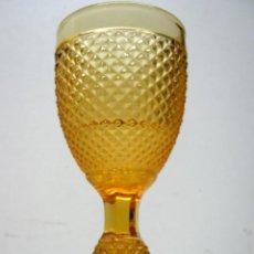 Antigüedades: ANTIGUO CÁLIZ VIDRIO AMBAR COPA CRISTAL. Lote 47157135