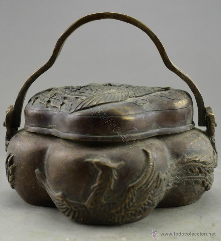 Antiguo Incensario De Bronce Oriantal Cesta Con Sold Through