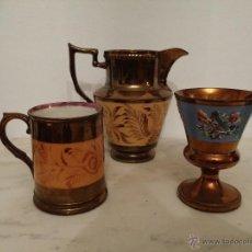 Antigüedades: LOTE DE TRES PIEZAS DE CERÁMICA INGLESA DE BISTROL DE REFLEJO SIGLO XIX. Lote 47183101