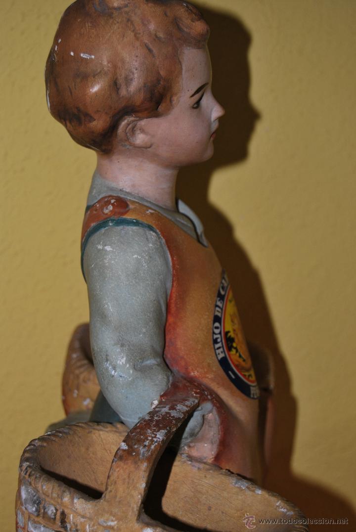 Antigüedades: ANTIGUO EXPOSITOR DE YESO - NARANJAS - ORTOLÁ - PEGO ALICANTE - FIGURA DE ESCAYOLA - NIÑO CON CESTOS - Foto 11 - 47187744