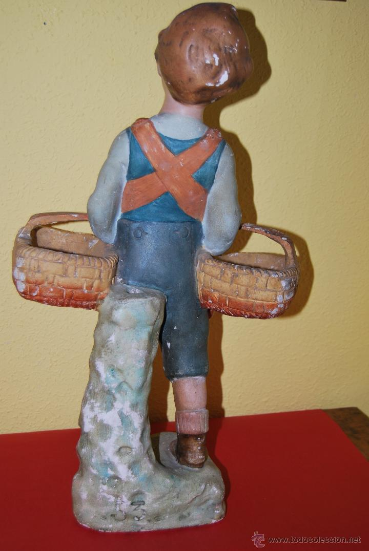 Antigüedades: ANTIGUO EXPOSITOR DE YESO - NARANJAS - ORTOLÁ - PEGO ALICANTE - FIGURA DE ESCAYOLA - NIÑO CON CESTOS - Foto 12 - 47187744