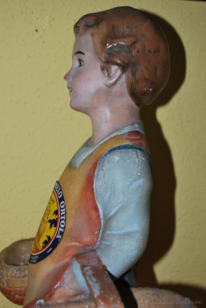 Antigüedades: ANTIGUO EXPOSITOR DE YESO - NARANJAS - ORTOLÁ - PEGO ALICANTE - FIGURA DE ESCAYOLA - NIÑO CON CESTOS - Foto 17 - 47187744