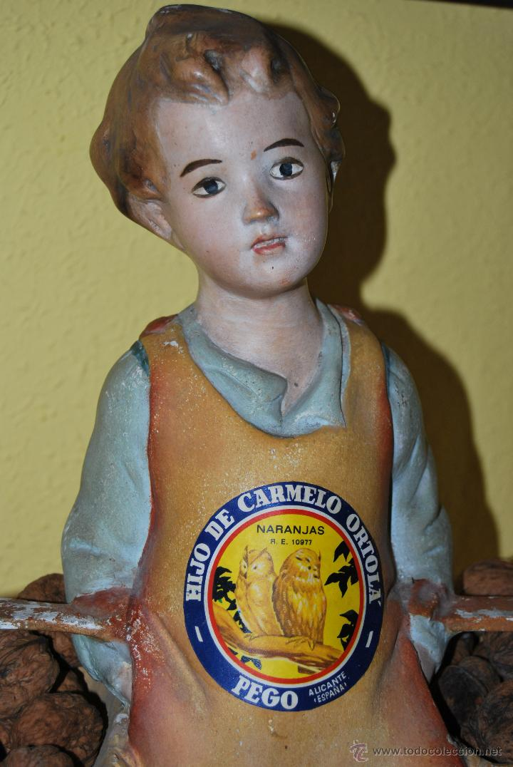 Antigüedades: ANTIGUO EXPOSITOR DE YESO - NARANJAS - ORTOLÁ - PEGO ALICANTE - FIGURA DE ESCAYOLA - NIÑO CON CESTOS - Foto 21 - 47187744