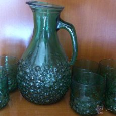 Antigüedades: JARRA CON VASOS CRISTAL. Lote 47188478