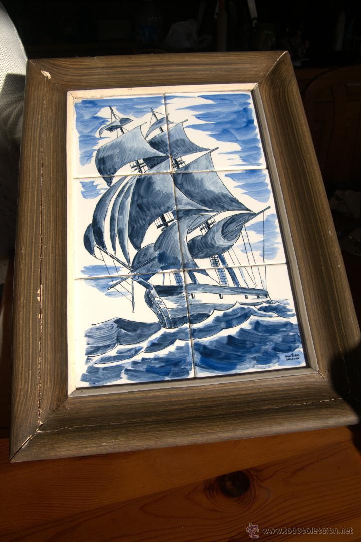 Antigüedades: Cuadro azulejos firmado Juan Vicens - Foto 2 - 47237459