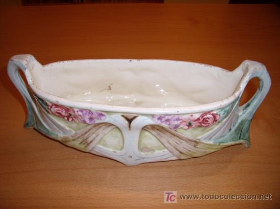 Antigüedades: Jardinera de loza modernista (art nouveau) - Foto 4 - 47240438