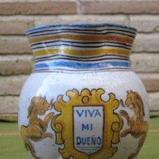 Antigüedades: JARRA ANTIGUA EN CERAMICA DE TALAVERA. FIRMADA.. Lote 47257783