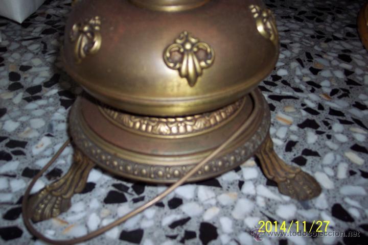 Antigüedades: ANTIGUA, LAMPARA DE PIE EN LATON REPUJADO Y CRISTAL SLANG - Foto 6 - 47264206