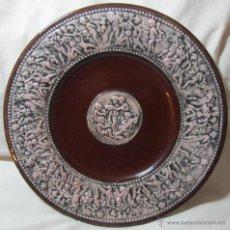 Antigüedades: GRAN PLATO DE CERÁMICA VIDRIADA CON ANGELITOS. Lote 47271369