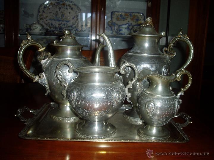 JUEGO DE PLATA INGLÉS PARA TÉ (Antigüedades - Platería - Bañado en Plata Antiguo)