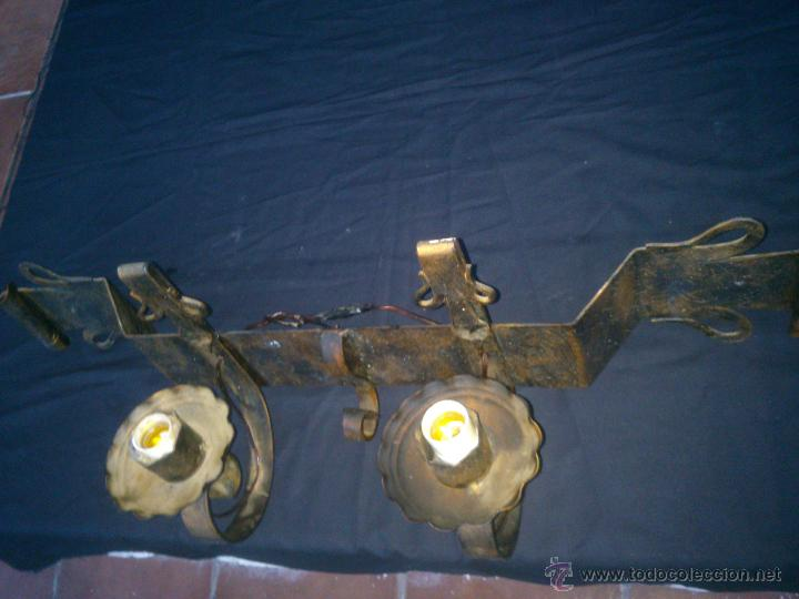 Antigüedades: RUSTICO APLIQUE DE FORJA DOS LUCES. DE PARED - Foto 6 - 47309660
