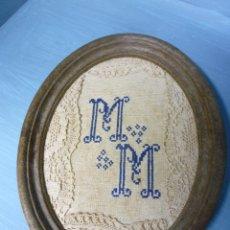 Antigüedades: MARCO DE RESINA , CON BORDADOS ANTIGUOS.. Lote 47310966
