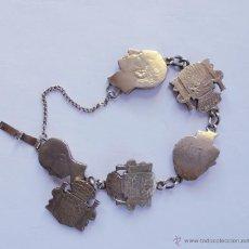 Antigüedades: PULSERA MONEDAS DE PLATA RECORTADAS ALFONSO XII. Lote 47318511