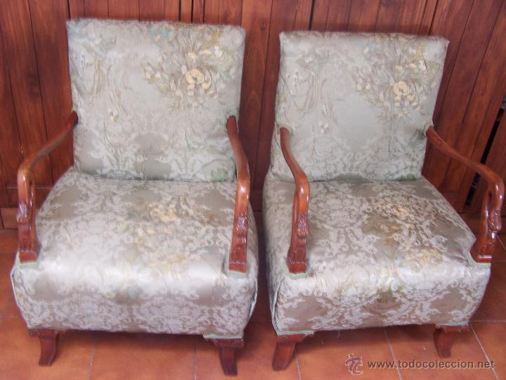 Pareja de sillones de dormitorio descalzador comprar - Sillones antiguos restaurados ...
