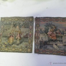 Antigüedades: LOTE DE 2 TAPIZES ANTIGUOS SIGLO XIX ESCENAS ROMANTICAS , MEDIDAS 25X25 ... VER . Lote 47350245