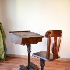 Antigüedades: ANTIGUO PUPITRE ESCRITORIO DE ESCUELA DE ÉPOCA VICTORIANA. Lote 47350318
