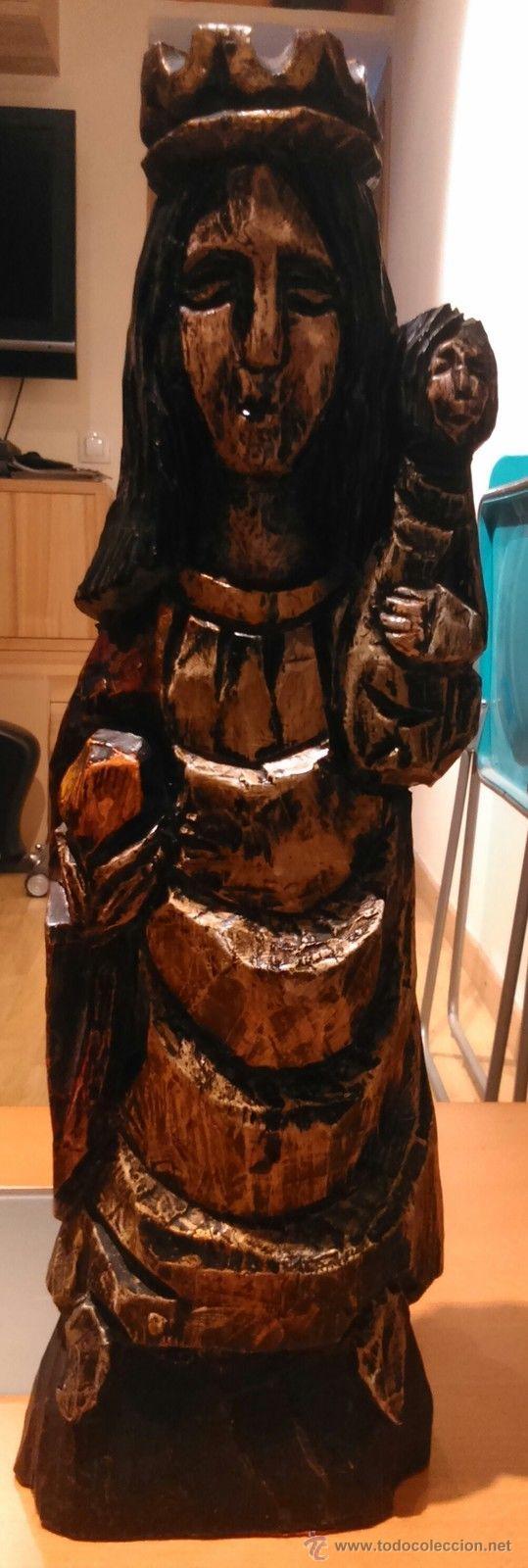 ANTIGUA TALLA EN MADERA MACIZA DE VIRGEN CON NIÑO (AÑOS 50) (Antigüedades - Religiosas - Varios)