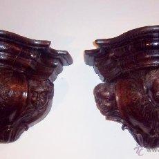 Antigüedades: PAREJA DE MÉNSULAS TALLADAS CON 3 QUERUBINES CADA UNA. FINALES SIGLO XVII - XVIII. Lote 47358045