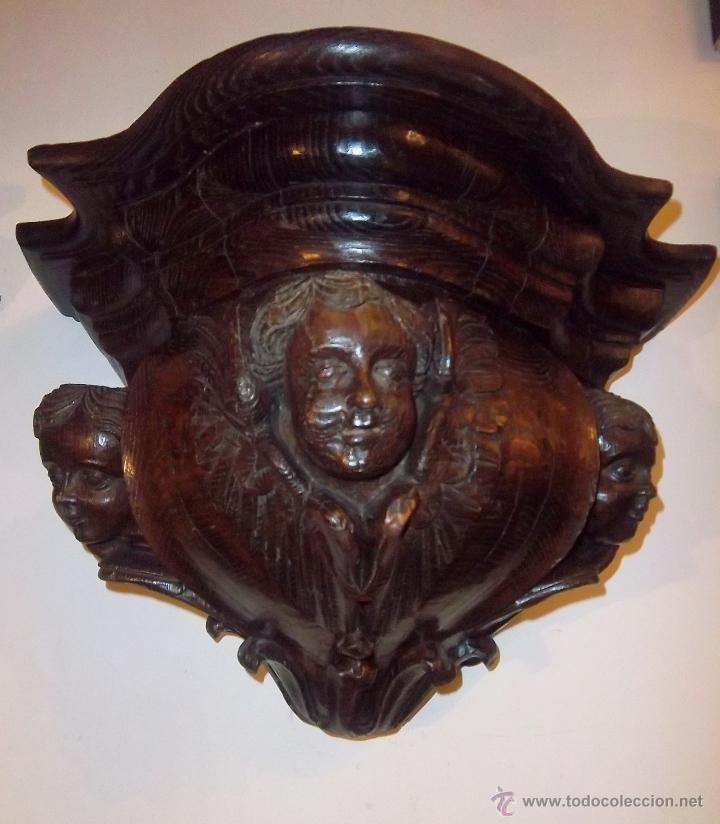 Antigüedades: PAREJA DE MÉNSULAS TALLADAS CON 3 QUERUBINES CADA UNA. FINALES SIGLO XVII - XVIII - Foto 2 - 47358045