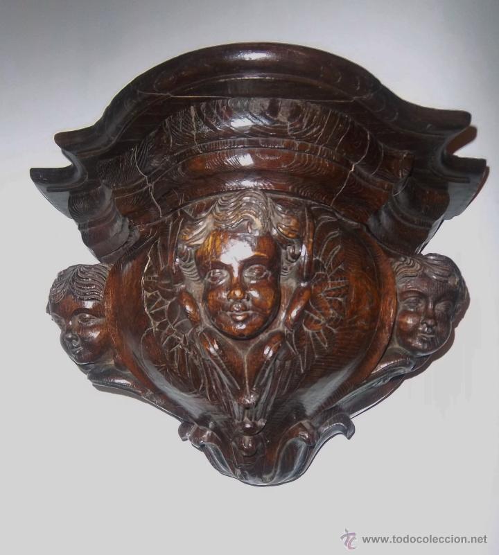 Antigüedades: PAREJA DE MÉNSULAS TALLADAS CON 3 QUERUBINES CADA UNA. FINALES SIGLO XVII - XVIII - Foto 3 - 47358045
