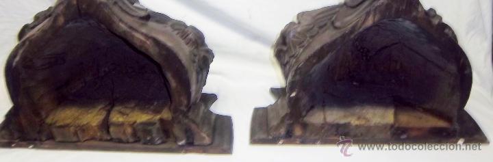 Antigüedades: PAREJA DE MÉNSULAS TALLADAS CON 3 QUERUBINES CADA UNA. FINALES SIGLO XVII - XVIII - Foto 5 - 47358045