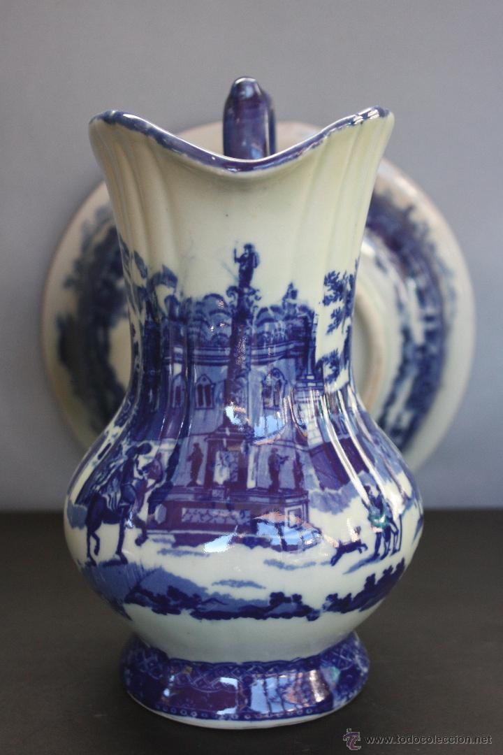 Antigüedades: Jarra y plato de cerámica inglesa (Victoria Ware ironstone) - Foto 2 - 47372395