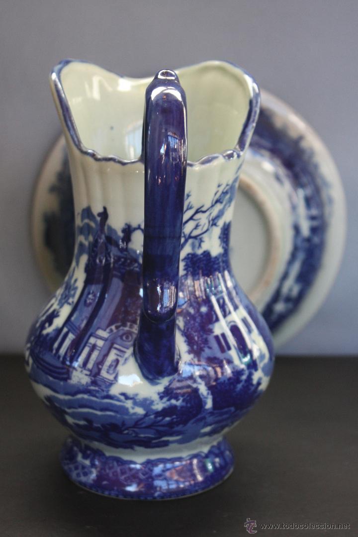 Antigüedades: Jarra y plato de cerámica inglesa (Victoria Ware ironstone) - Foto 3 - 47372395