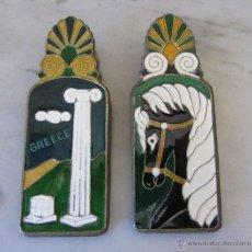 Antigüedades: ANTIGUOS PISAPAPELES INGLESES TIPO PINZA DE ESMALTE CLOISONÉ CON TEMAS INSPIRADOS GRECIA CLÁSICA. Lote 47380625