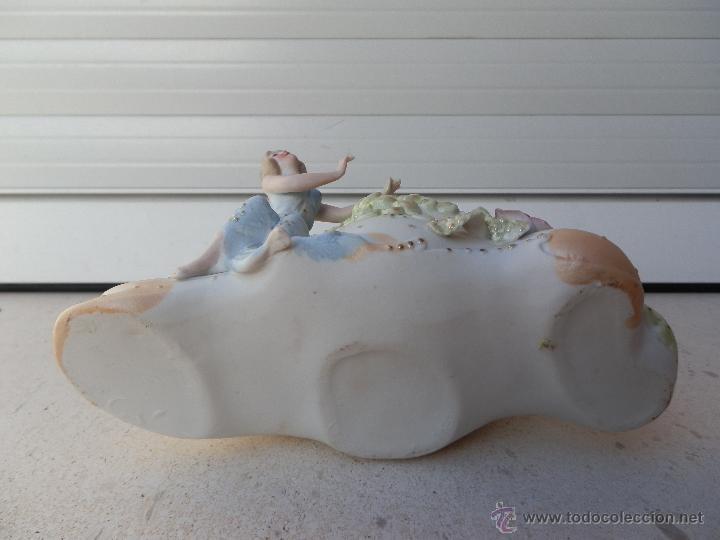 Antigüedades: ANTIGUA PORCELANA JARDINERA CON FIGURA DE MUJER EN BISCUIT COLOREADA, época Art Nouveau. - Foto 5 - 47387698