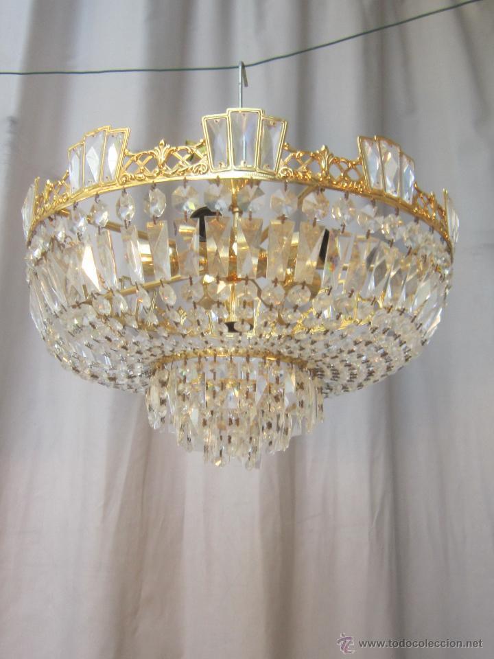 lampara de techo de cristales en metal dorado - Comprar