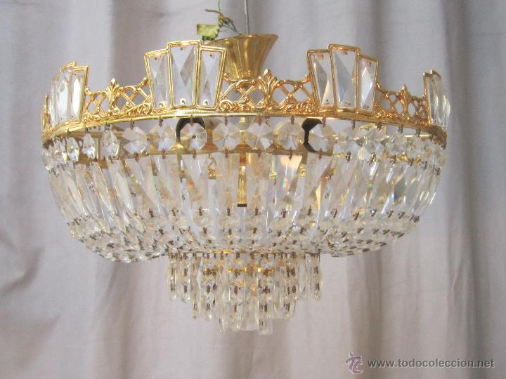 Lampara de techo de cristales en metal dorado comprar - Cristales para techos ...
