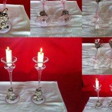 Antigüedades: CANDELABROS EN CRISTAL DE MURANO Y METAL SHABBY CHIC. Lote 47397397