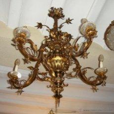 Antigüedades: MAGNIFICA LAMPARA DE ARAÑA DE TECHO. HACIA 1820. BRONCE DORADO. MUY BUENA CALIDAD.. Lote 47404470