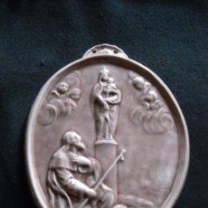 Antigüedades: CURIOSA PLACA DE CERÁMICA VIRGEN DEL PILAR. Lote 47407409