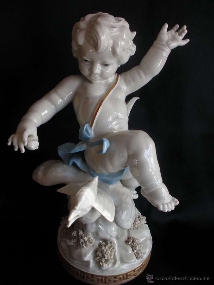 ANTIGUO ANGEL CON FAISAN PORCELANA ALGORA CON FALTAS 24 CM (Antigüedades - Porcelanas y Cerámicas - Algora)
