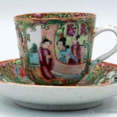 Antiquités: TAZA CON PLATO PORCELANA CANTÓN CHINA S XIX. Lote 47424454
