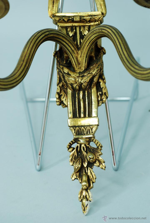 Antigüedades: Pareja apliques bronce dorado estilo Luis XVI hacia 1900 - Foto 3 - 47430907