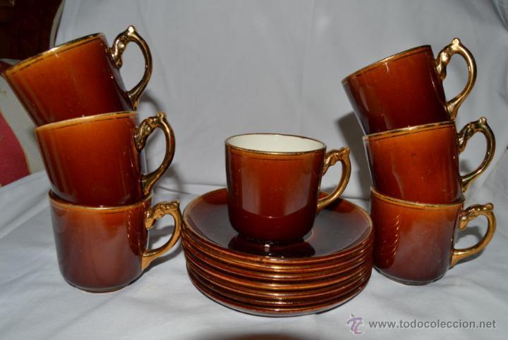 ANTIGUO JUEGO DE CAFE DE 7 SERVICIOS - PORCELANA FRANCESA CHOISY LE ROI - SIGLO XIX - 1900 (Antigüedades - Porcelana y Cerámica - Francesa - Limoges)