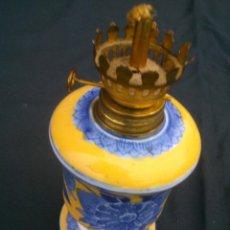 Antigüedades: ANTIGUO CANDIL DE ACEITE -LATON CON CERAMICA .. Lote 47442244