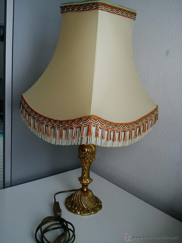 MAGNIFI ANTIGUA LAMPARA ANOS 40 ,50 EL PÉ ES HECHO DE METAL PINTADO A POLVO ORO 24K SELADO DRIMMER (Antigüedades - Iluminación - Lámparas Antiguas)